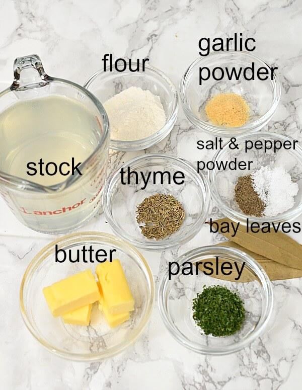ingredients to make pot pie soup