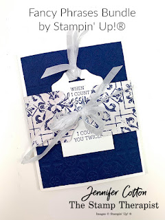 This count my blessings card uses Stampin' Up!'s Fancy Phrases bundle to create card with a belly band.  Instructions are in the video!  Click for link.  The designer paper is In Good Taste and the ribbon is the Whisper White Crinkled Seam Binding.  #StampinUp #StampTherapist