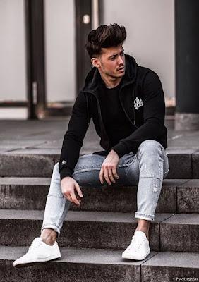 Stylish Photo Pose For Boy On Steps