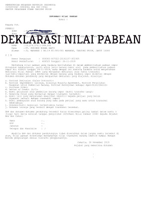 Contoh dokumen deklarasi nilai pabean-DNP