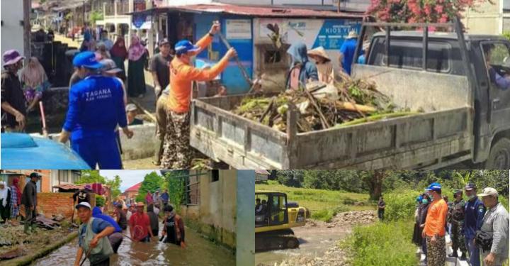 Pemkab Kerinci Gotong Royong Bersama Warga Tiga Desa Tanjung Tanah Pasca Banjir