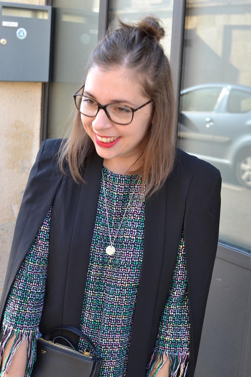 robe tweed et veste noir Sheinside, trio bag céline, collier l'atelier d'amaya