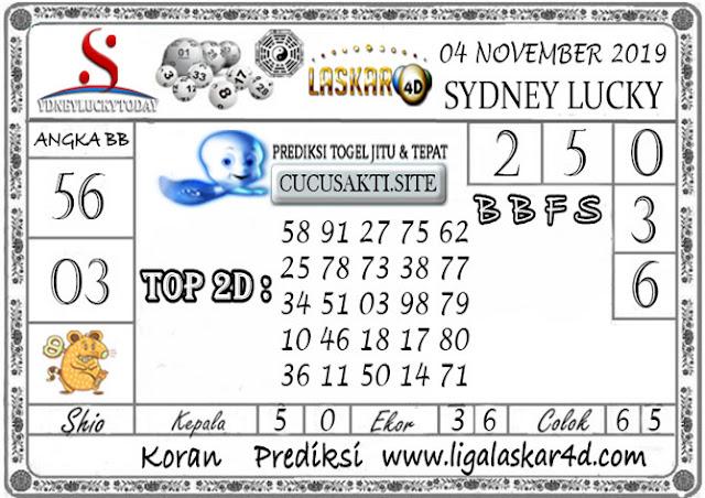 Prediksi Sydney Lucky Today LASKAR4D 04 NOVEMBER 2019