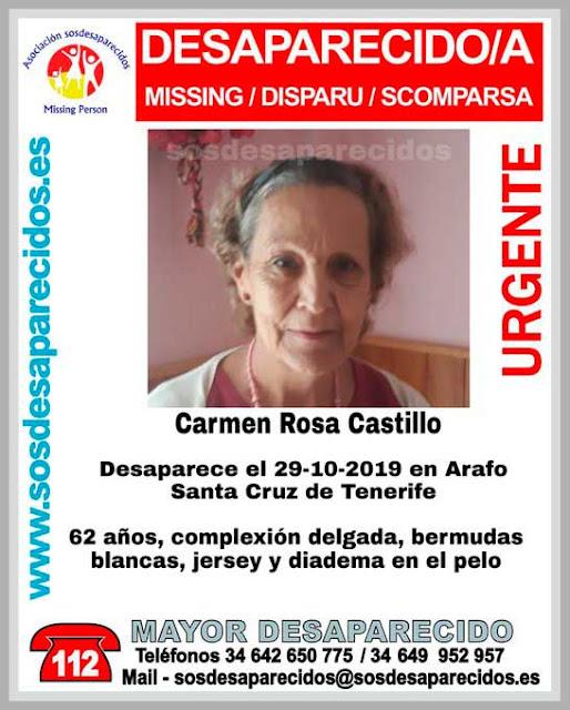 Carmen Rosa Castillo, mujer  62 años desaparecida en Arafo, Tenerife