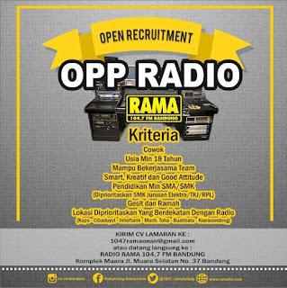 Loker Radio Rama Bandung terbaru 2020