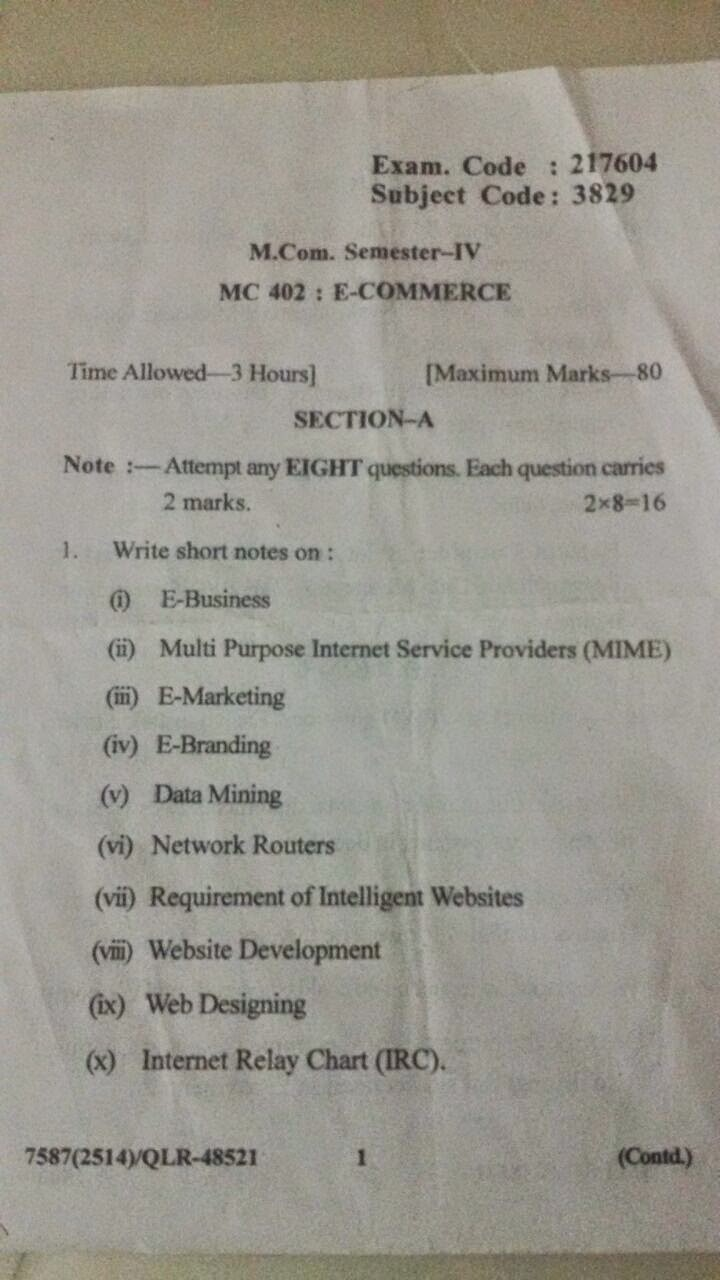 M com 4th sem E commerce Exam Question Paper