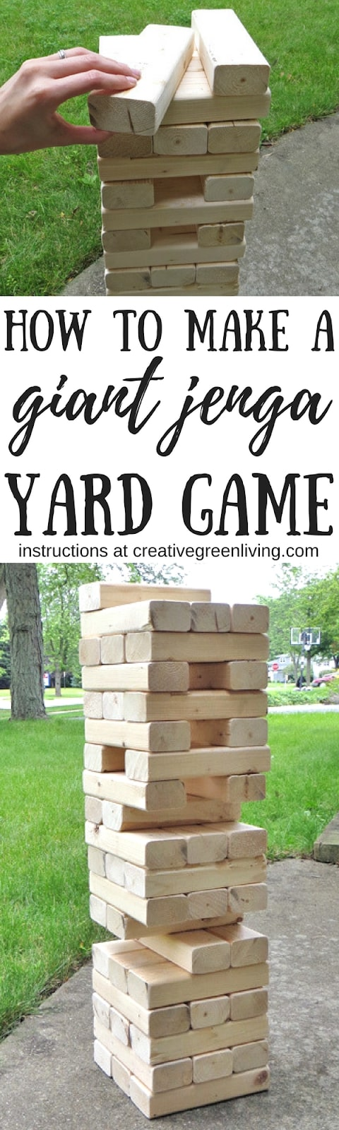 Learn how to make a giant DIY jenga game. It's the perfect yard game to play outside in the backyard this summer. #creativegreenliving #jenga #yardjenga #yardgames #giantjenga #jumbojenga