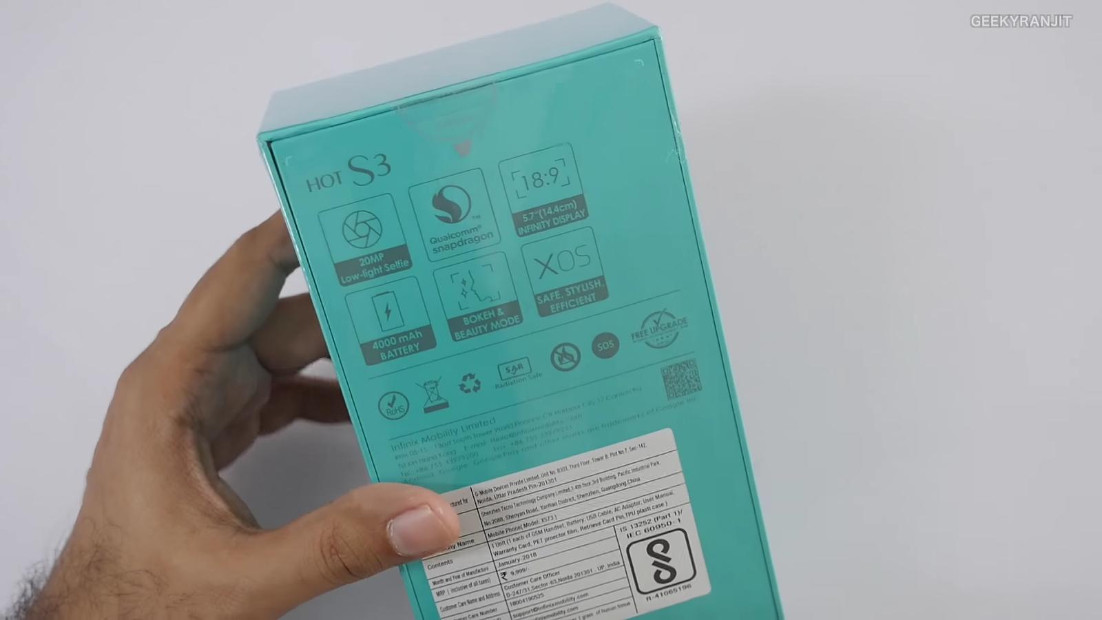 Infinix Hot S3 Box