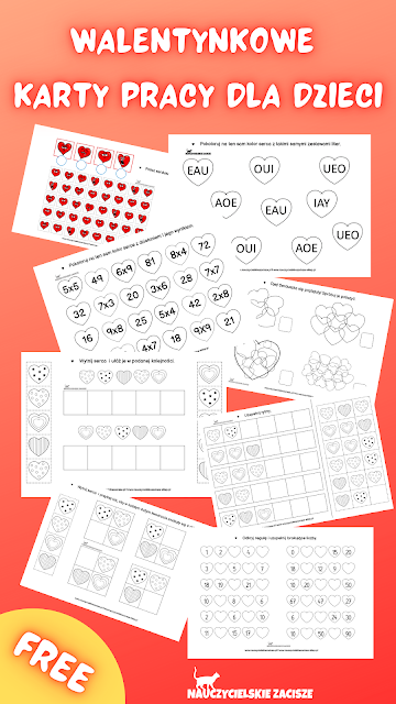 Walentynkowe karty pracy 8 serduszkowych zadań dla dzieci do pobrania za darmo