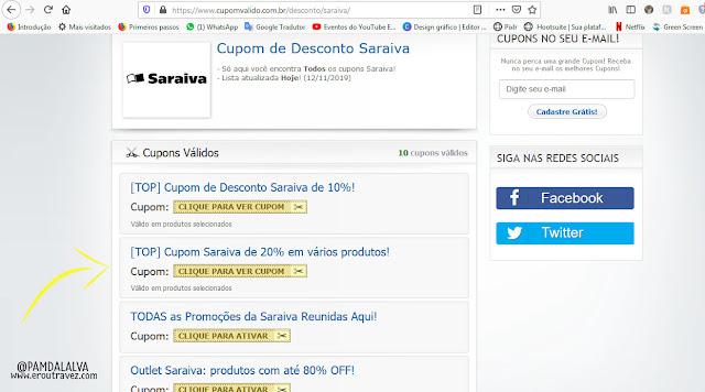 imagem mostrando a lista de cupons que tem ao selecionar uma marca