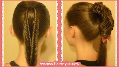Split fishtail braid ponytails. 1 braid, 2 hairstyles.
