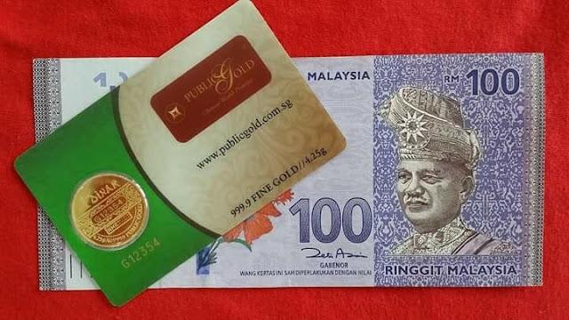 1 Dinar dan Duit Kertas RM 100