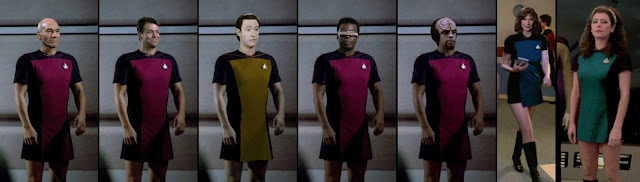 TNG crew all wearing skant uniforms