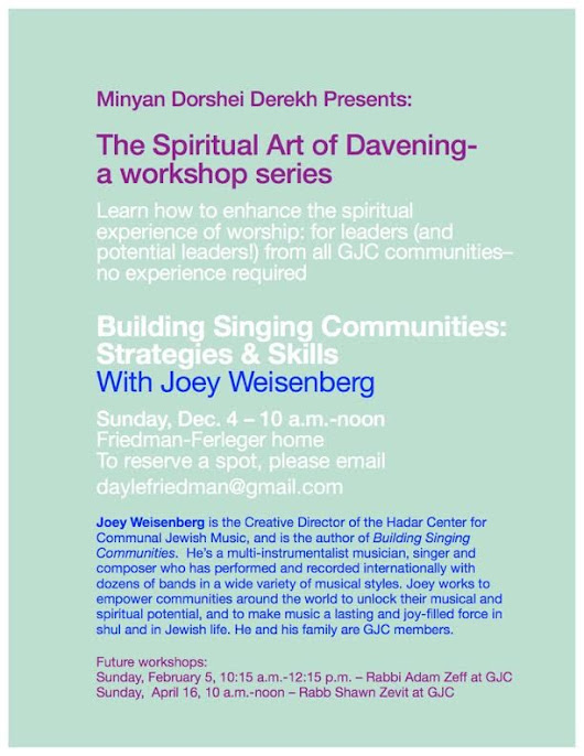 "Join Dorshei Derekh at ""The Spiritual Art of Davening - With Joey Weisenberg in Mt. Airy"""
