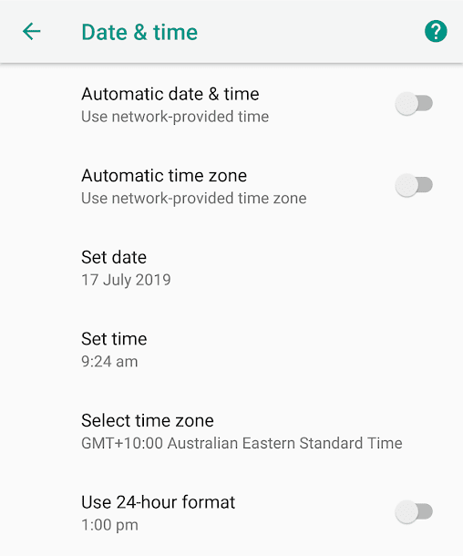 Date and Time Android Settings
