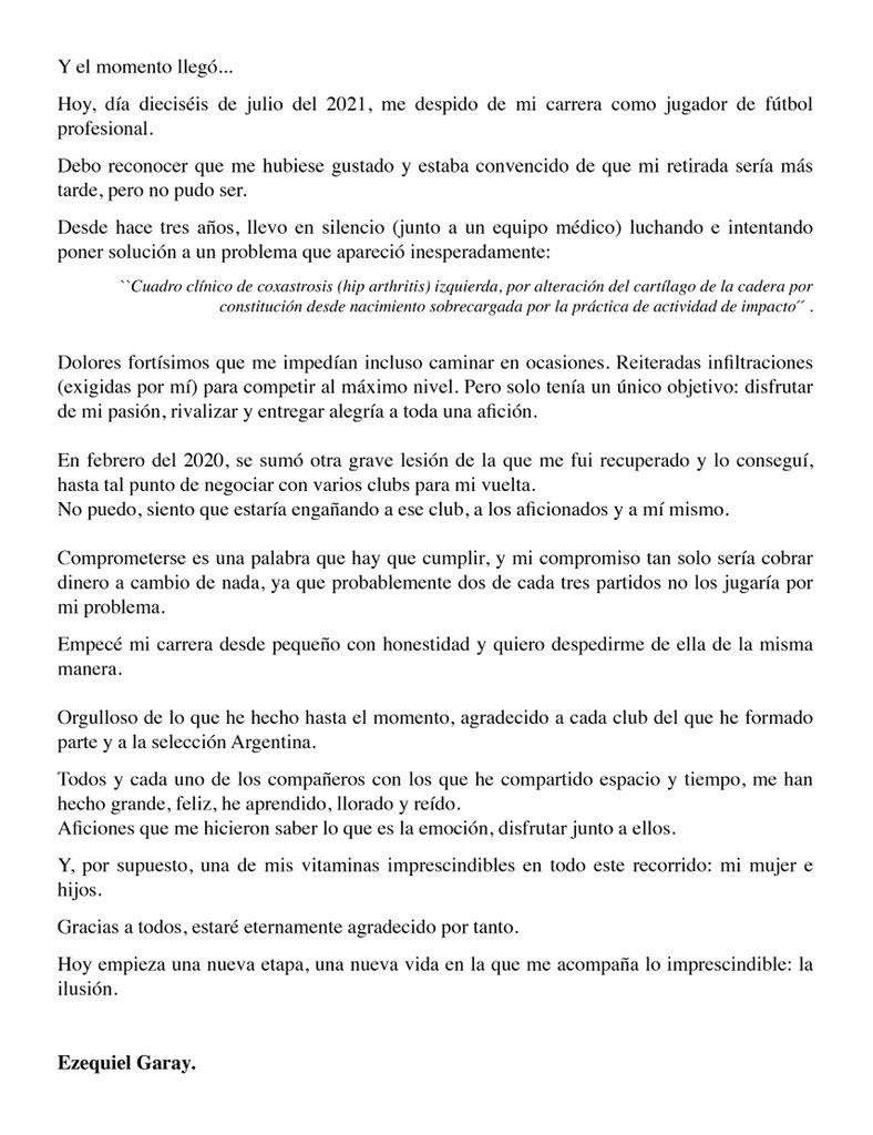 Ezequiel Garay anunció su retiro del fútbol