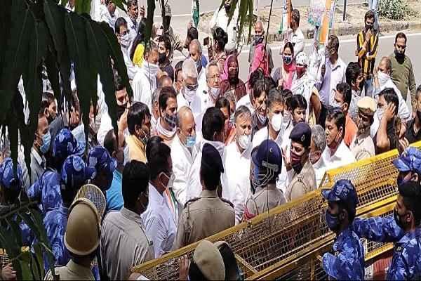 faridabad-congress-leader-protest-against-dhbvn-haryana-sarkar