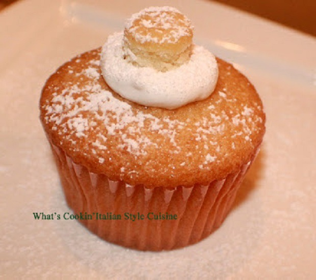 this is a twinkie cupcake a copycat from the Hostess company style spongecake filled with marshmallow cream