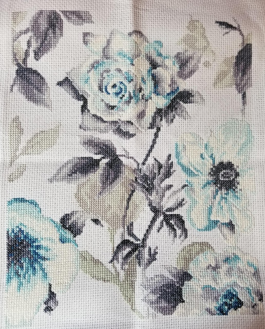 Teal Floral Cross Stitch Before