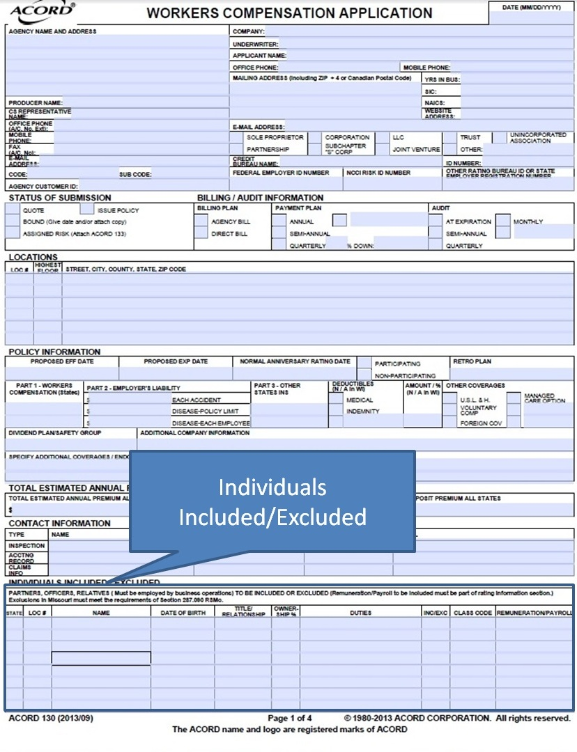 Simply Easier Acord Forms Acord 130 Workers Compensation