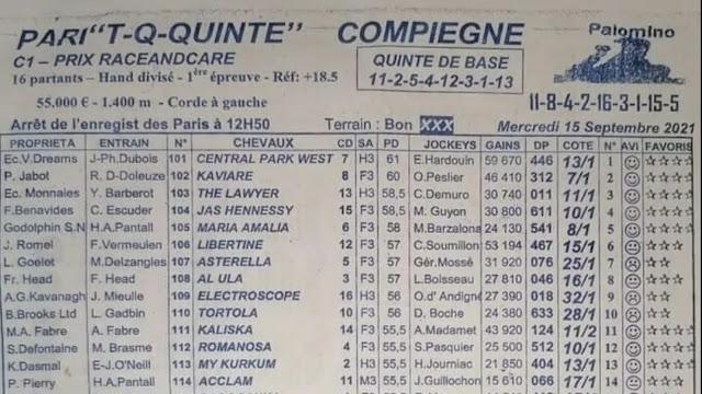 Pronostic quinté pmu Mercredi Paris-Turf TV-100 % 15/09/2021