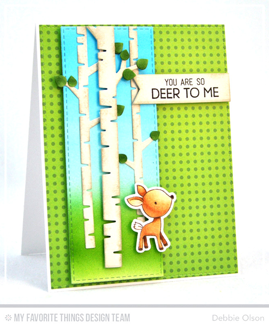 Handmade card from Debbie Olson featuring Sweet Forest Friends stamp set and Die-namics, Vertical Stitched Strips, Birch Trees, Stitched Fishtail Flag STAX, and Blueprints 15 Die-namics #mftstamps