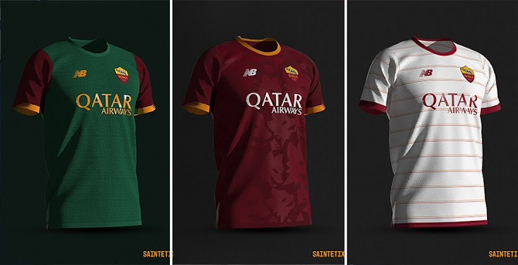 Classy New Balance AS Roma 2021-22 Home, Away & Third Concept Kits ...
