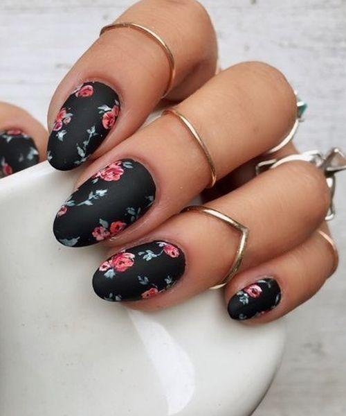 black floral design for your nails
