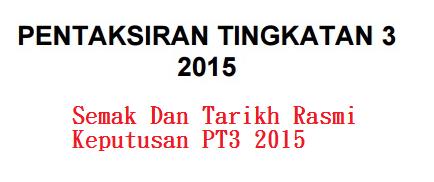 Tarikh Rasmi Keputusan PT3 2015 diumumkan