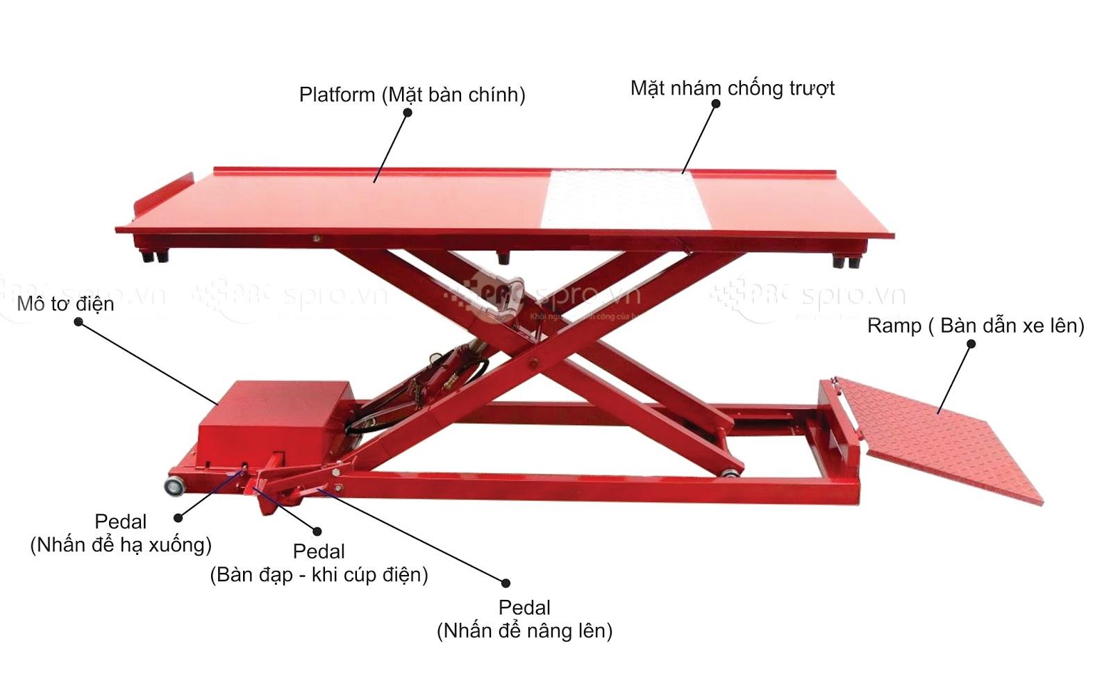 Bàn nâng điện và đạp chân T250E, bàn nâng sửa xe bề mặt chống trượt