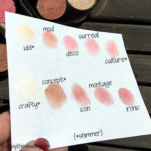 Swatches of all the shades in the Works of Tarte Blush Palette Color Wheel