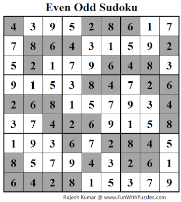 Answer of Even Odd Sudoku (Fun With Sudoku #110)