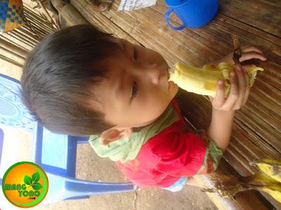 """FOTO : Anak saya """"Gigin"""" sedang makan pisang."""