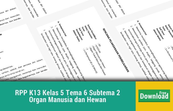 RPP K13 Kelas 5 Tema 6 Subtema 2 Organ Manusia dan Hewan