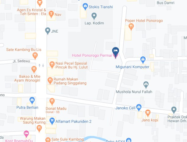 Map Letak Hotel Ponorogo Permai Ponorogo