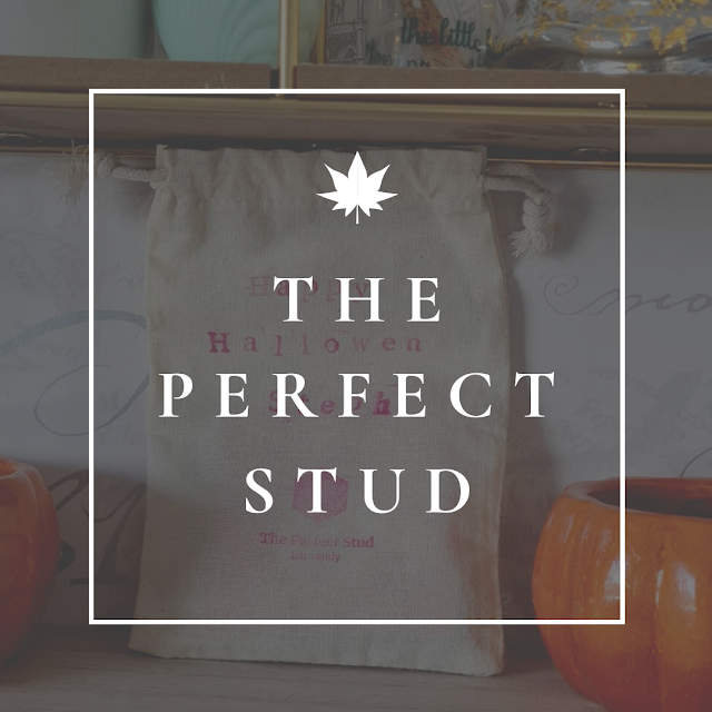 greyed out photo of a jute bag with happy halloween steph hand stamped in pink ink, over layed with a white boarder and the word the perfect stud in the photo