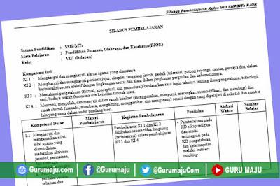 Silabus PJOK SMP Kelas 8 Kurikulum 2013 Revisi Terbaru