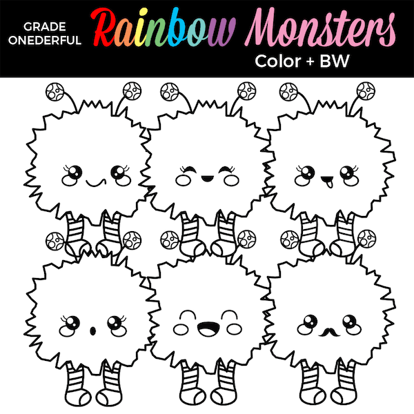 https://www.teacherspayteachers.com/Product/Rainbow-Monsters-Clip-Art-4995320