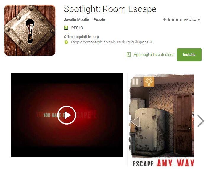 Soluzioni Spotlight Room Escape Livello 1 Capitolo