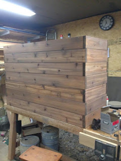 custom built pickled stained cedar planter with staggered boards newyorkplantings completed.jpg