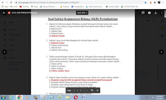 Contoh soal tes P3K Bidang Perindustrian dan kunci jawaban