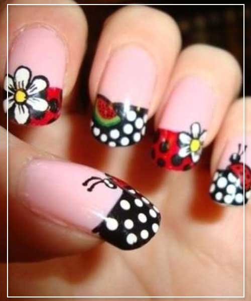 Colorful ladybugs Nail Designs