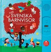 Omslag till Fler svenska barnvisor. Bilden visar en massa barn och andra varelser som har samlats i och runt ett stort rött träd. Flera av dem sjunger och spelar.