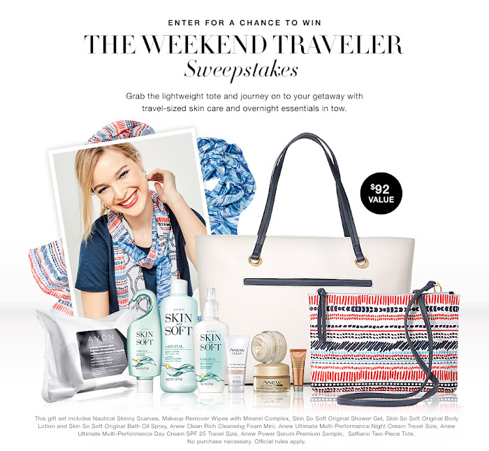 Enter for a chance to win the Avon Monthly sweepstakes. This Month sweepstakes Avon is sponsoring a sweepstakes named The Weekend Traveler Sweepstakes. Click On Image..