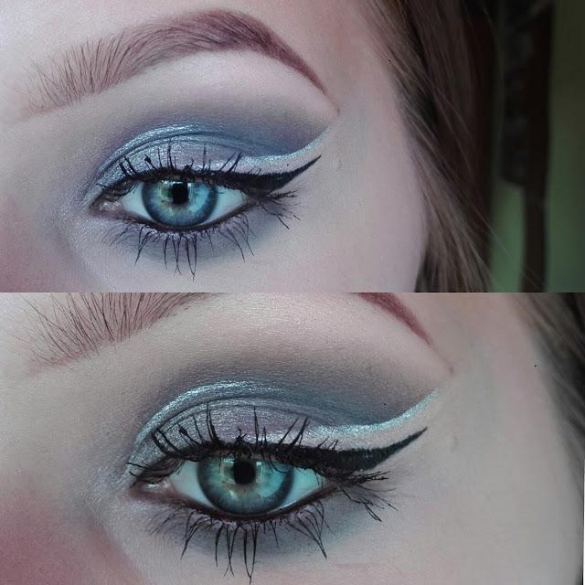 Niebieski,srebro/pomarańcz, złoto, srebro- makijaż oka