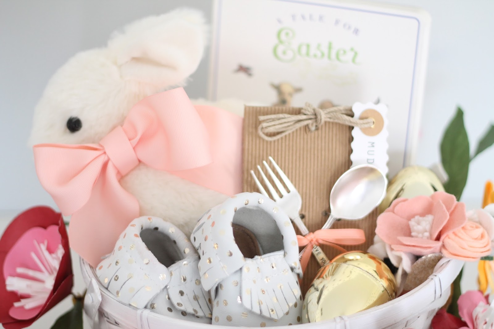 12th and white babys first easter basket and of course the paper flower garland from target just makes the whole thing ive been having fun moving this around the house negle Choice Image