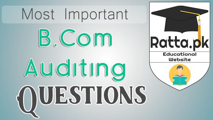 B.Com Auditing Important Questions Notes