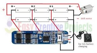 12v 3s bms connection circuit diagram