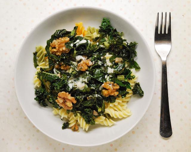 Pâtes au kale et au gorgonzola