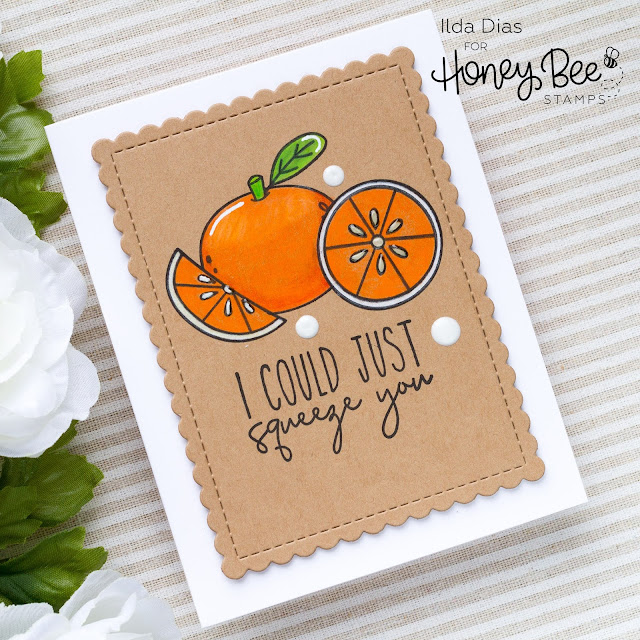 Hello Summer, Sneak Peeks, Pearfect Sentiments, Card Set, Honey Bee Stamps, Freshly Picked, Card Making, Stamping, Die Cutting, handmade card, ilovedoingallthingscrafty, Stamps, how to, Fruit Puns, Fruits, Oranges
